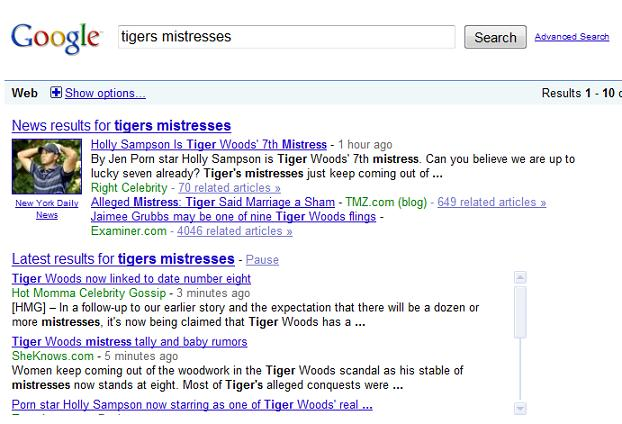google realtime Google adds Real Time Search to results