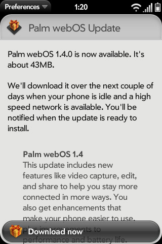 web os 1.4 Palm releases Web OS 1.4 with native support for Video Recording and Sharing