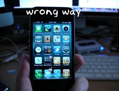 wrong way Solving Bad Reception Problem of iPhone 4