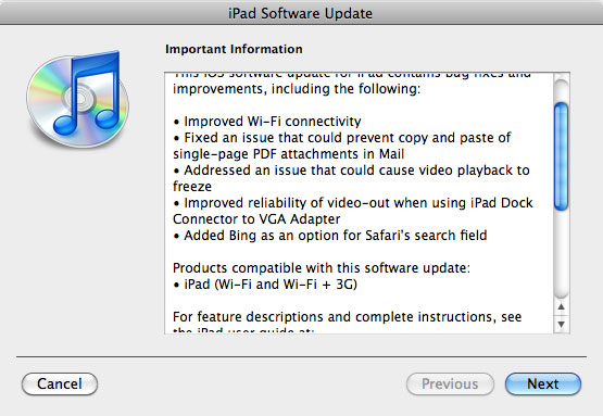 ipad ios update iOS 3.2.2 for iPad 3G/WiFi Released and available for Download