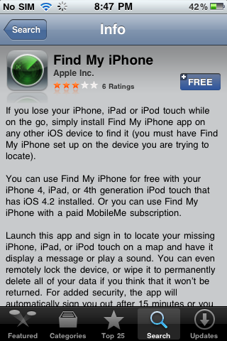 IMG 00471 Find my iPhone for iOS 4.2 Available Free on App Store [Download Link]