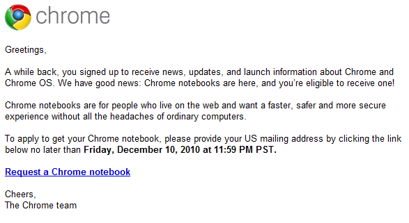 chrome team email Google is Giving Away Cr 48 Chrome Netbook