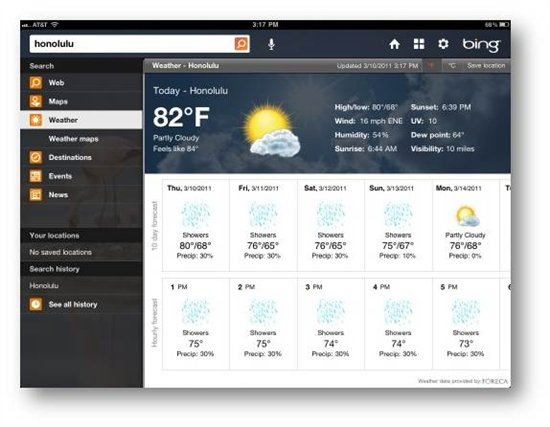 bing weather ipad Bing for iPad now available on the App store