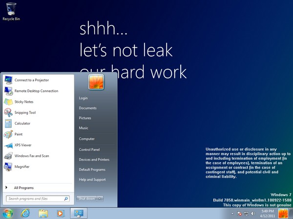 winows 8 build 7850 Windows 8 Expected to Release by mid 2012