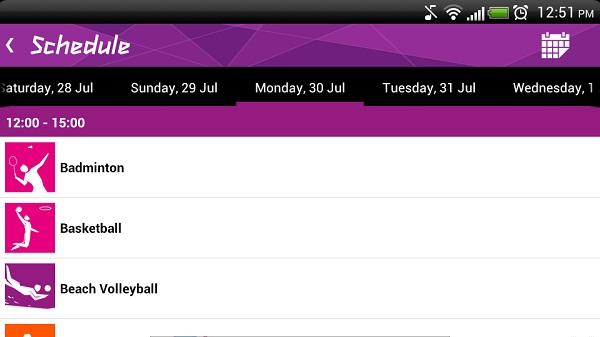 App showing schedule Keeping track of Olympics 2012 on Smartphones