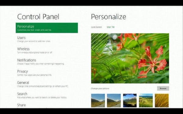Control pannel Windows 8 Features to Look For