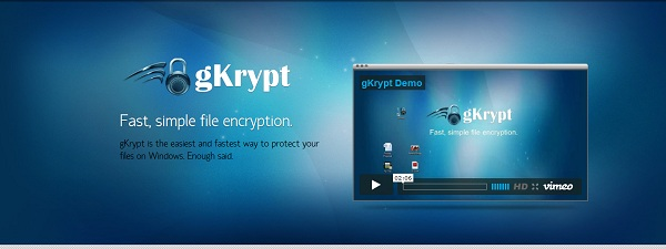 Banner gkrypt Super quick file encryption by gKrypt, Uses GPU