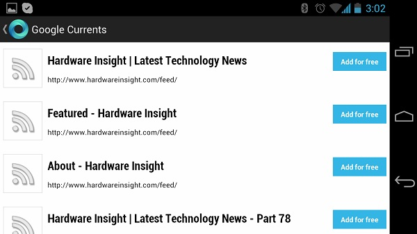 Google currents feed
