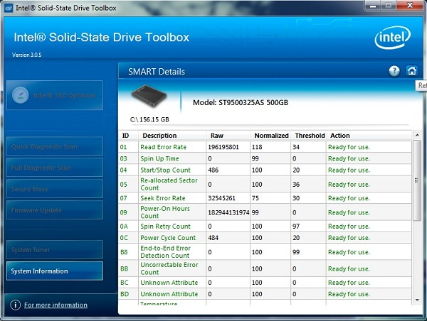 Smart details1 Use Intel SSD Toolbox to get maximum SSD Performance
