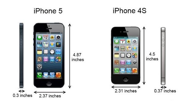 i5i4svs dimensions iPhone 4S vs iPhone 5   Improvements and Changes