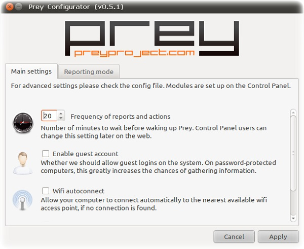 Prey Configurator Anti Theft Computer Softwares