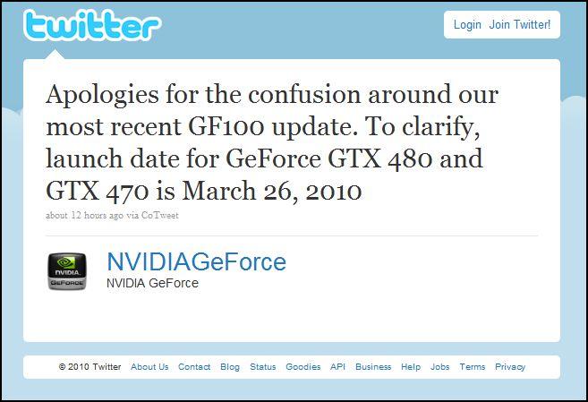 Nvidia Fermi GTX 480 Launch Date Announced