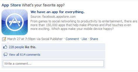 App Store gets a Facebook Fan Page