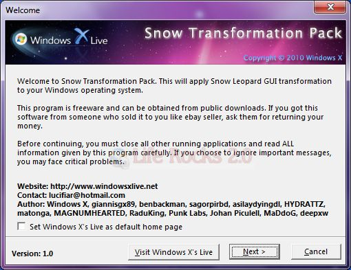 Snow Transformation Turn Windows 7 into Mac OSX with Snow Transformation Pack