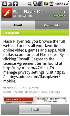 flash player 10.1 android Adobe Releases Flash Player 10.1 (final) for Nexus One