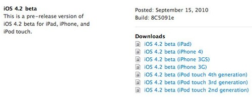 ios 4 2 beta iOS 4.2 now Available for iPad, iPhone and iPod Touch