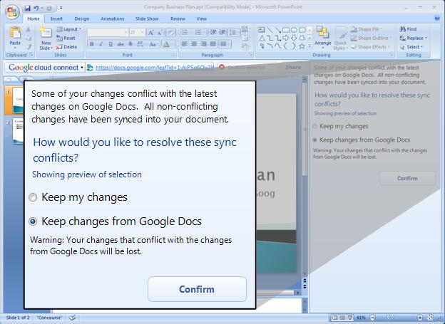 GoogleCloudConnect conflict resolution dialogue Google Cloud Connect Bridges Microsoft Office with Google Docs