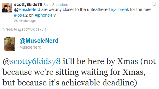 MuscleNerd Untethered Jailbreak on iOS 4.2.1 for iPhone 4 / 3GS (New Bootrom) to be Released This Christmas