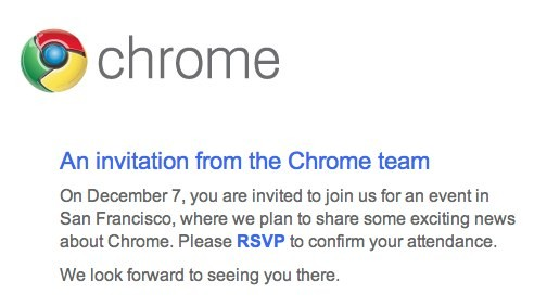 chrome invite Google to Launch Chrome OS netbook on December 7