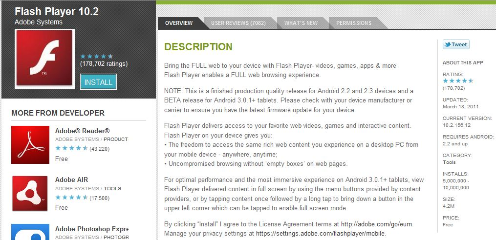 Flash 10.2 Adobe Flash 10.2 Released for Tablets, Flash Now Supported