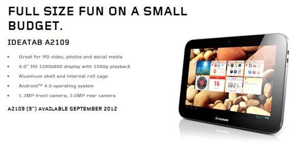 Lenovo A2109 Lenovo announces IdeaTab A2107 and A2109 Tablets