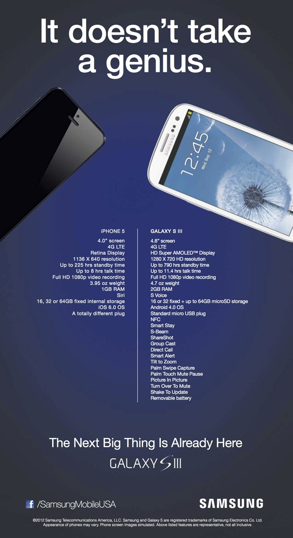 samsung galaxy s iii anti iphone 5 ad Samsung mocks iPhone 5 with new Attack Ads and Commercial
